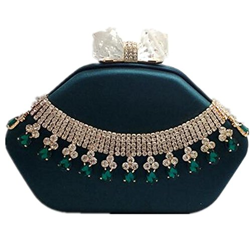 Shoulder Evening NVBAO Wedding Chain green Dress Party Women Bags Silk Rhinestone Clutch wwT8x