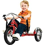12'' Schwinn Roadster Trike, Retro-Styled Classic Tricycle Frame with Low Center of Gravity, Color Red