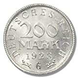 1923-G 200 Mark Hyperinflation Aluminum Coin from the German Weimar Republic