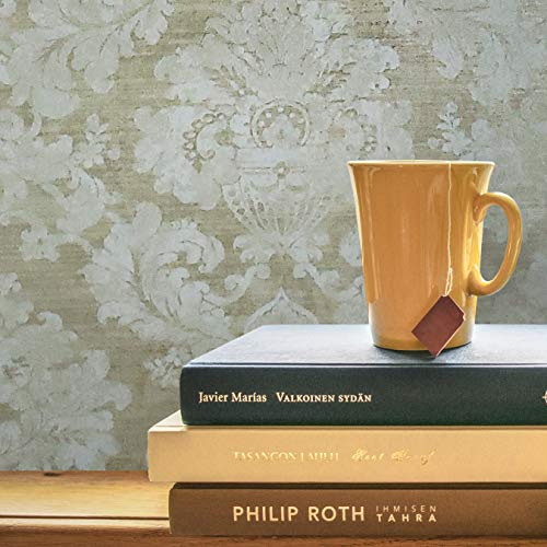 Portofino Victorian wallcoverings embossed Vinyl Non-Woven Made in Italy Wallpaper gold brass metallic off white beige matt damask double rolls coverings textured plaster effect paste the wall only 3D (Textured Effect)