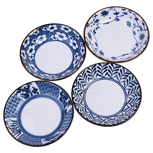 Beautyflier Pack of 4 Assorted Color Ceramic Sauce Dishes Leaves Pattern Plates Serving Saucers Bowl For Sushi Appetizer Japanese Style Dinnerware Set Snack (Soy Sauce Dish)