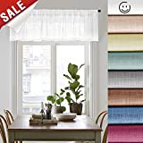 White Sheer Curtain Valances for Living Room 16 inches Long Linen Textured Sheer Window Valance for Bedroom, Rod Pocket, 1 Panel, White