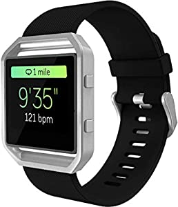 KingAcc Bands for Fitbit Blaze, Compatible Blaze Bands, Soft Accessory Replacement Band for Fitbit Blaze, with Metal Buckle Smartwatch Strap Women Men (1-Pack, Black, Large) [No Frame]