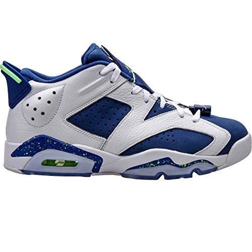Jordan Men Air Jordan 6 Retro Low (white / ghost green / insignia blue) Size 9.5 US (Jordan Retro 6 For Men)