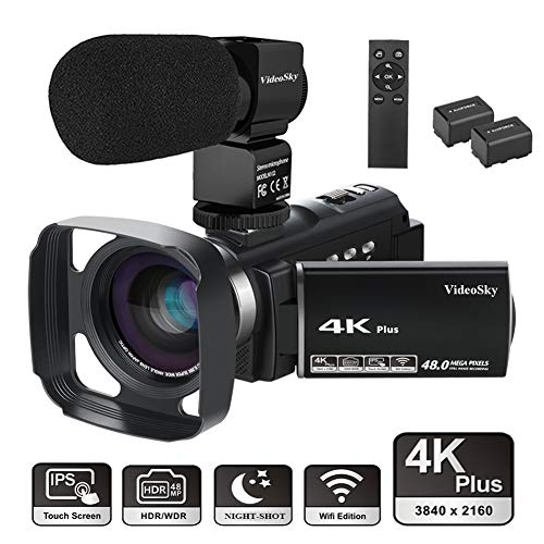 4K Video Camera Camcorder Ultra HD 48.0MP VideoSky WiFi Digital Vlogging Camera IR Night Vision 3.0″ Touch Screen 16X Digital Zoom with Lens Hood, External Microphone, Remote Control, Wide Angle Lens