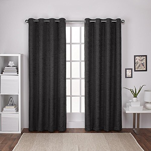 Exclusive Home Curtains Criss Cross Chenille Eyelash Room Darkening Grommet Top Window Curtain Panel Pair, Black Pearl, 54x96 - Chenille Jacquard Panel