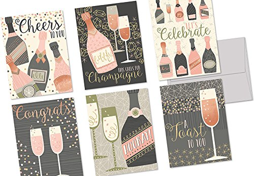 72 Note Cards - Champagne Toast - 6 Designs - Blank Cards - Gray Envelopes Included (Champagne Congratulations)