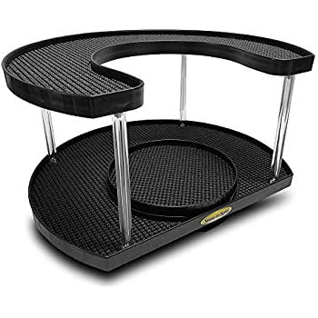 Amazon Com Stow N Spin Black Deluxe 2 Tier Lazy Susan