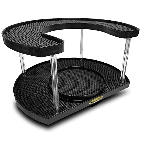(Stow-n-Spin Deluxe Black 2 Tier Lazy Susan Turntable Spice Rack Organizer for Cabinet with Double Turntable Spinner Fits 11 inch Deep Shelves)