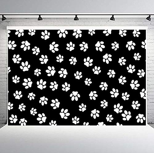 PHMOJEN White Puppy Dog Paw Print Black Photography Backdrop Cartoon Patrol Background for Children 10x7ft Vinyl Photo Booth Props -