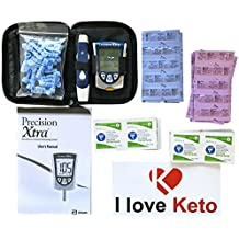 Precision Xtra Meter Kit (sealed)-30 Ketone, 30 Glucose Strips, I Love Keto Sticker, Month Supply of Lancets and Alcohol Wipes