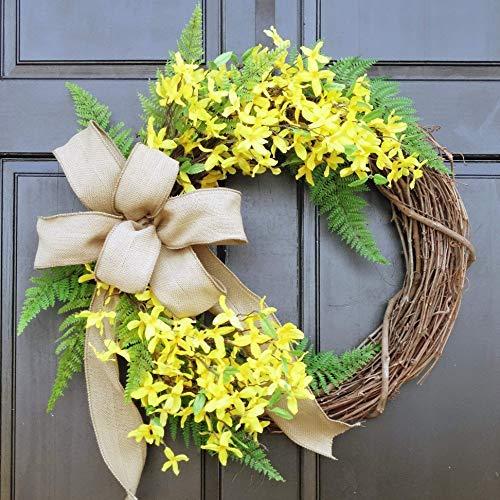 Amazon Com Summer Spring Yellow Forsythia Wreath With Burlap Bow On