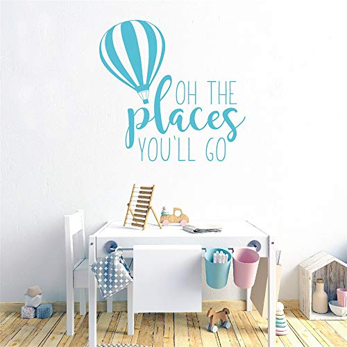 - Wall Decal Removable Quote Decor Design Decal Hot Air Balloon Cute Art for Kids Room Oh The Places for Living Room Bedroom