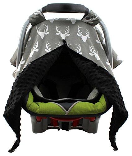 Dear Baby Gear Carseat Canopy, Antlers on Grey, Black Minky from Dear Baby Gear