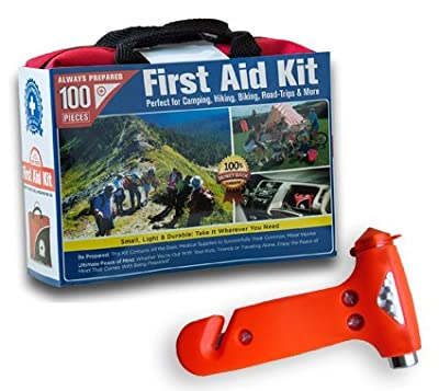 Ultra-Light & Small 100-Piece First Aid Kit in Durable Nylon Case w/ Bonus Emergency Auto Escape Tool! Kit is Ideal for the Car, Home, School, Camping, Hiking, Travel, Office, Sports, Hunting by Always Prepared®