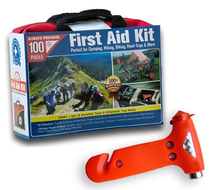 Ultra-Light & Small 100-Piece First Aid Kit in Durable Nylon Case w/ Bonus Emergency Auto Escape Tool! Kit is Ideal for the Car, Home, School, Camping, Hiking, Travel, Office, Sports, Hunting (Tool Emergency Auto Kit)