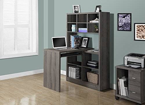 Monarch Specialties Dark Taupe Reclaimed-Look Left/Right Facing Corner Desk Monarch Specialties, Inc