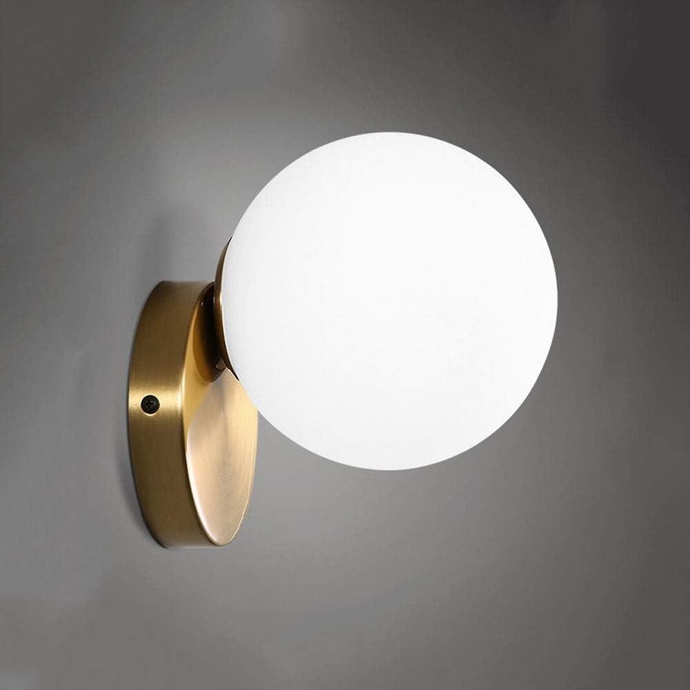 HSB La originalidad de la esfera de cristal pequeña pared del estilo americano dormitorio de la lámpara de la lámpara Bed Head simple moderna escalera de pasillo baño Espejo de hierro forjado con cris