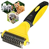 Xboun Dematting Comb for Dogs, Pet Grooming Tool, Comb Tool for Dogs Cats Pet Grooming Undercoat Rake with Dual Side - Safe Dematting Comb for Easy Mats & Tangles Removing