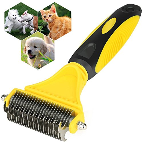 Xboun Dematting Comb for Dogs, Pet Grooming Tool, Comb Tool for Dogs Cats Pet Grooming Undercoat Rake with Dual Side - Safe Dematting Comb for Easy Mats & Tangles Removing by Xboun
