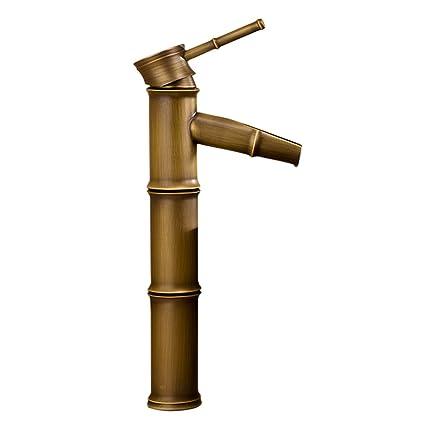MagiDeal Home Brass Waterfall Bathroom Sink Vessel Faucets Bamboo Shape Deck Mount Basin Mixer Taps - brass, #1