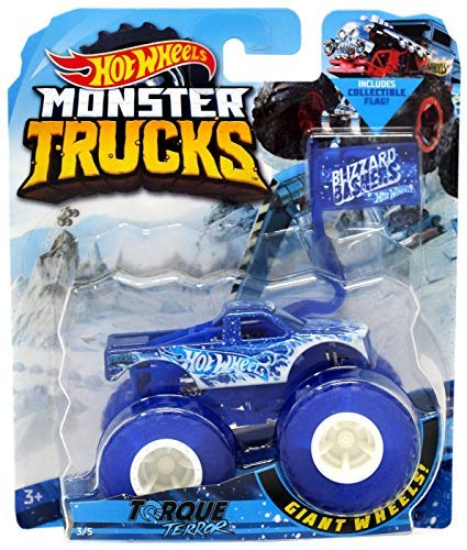 Truck Monster Blue - Monster Truck HOT Wheels 1:64 Scale, Blue Torque Terror Includes Flag 3/5