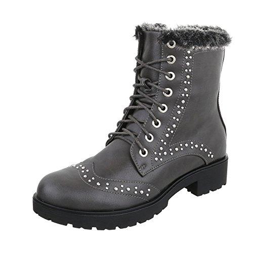 Ital-Design Schnürstiefeletten Damenschuhe Klassischer Stiefel Blockabsatz Warm Gefütterte Reißverschluss Stiefeletten Grau