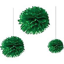 Joinwin® 12PCS Mixed Sizes Dark Green Tissue Paper Flower Pom Poms Pompoms Wedding Birthday Party Nursery Decoration