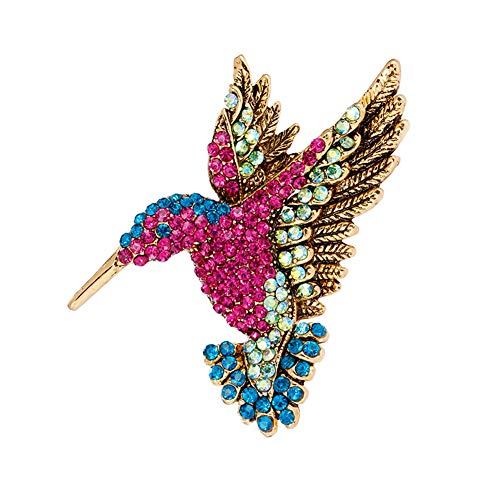 ZILucky Vintage Bird Hummingbird Rhinestone Brooch Pins for Women Gift Crafts Scarf Fashion Decorative Safety Crystal Pin Brooch ()