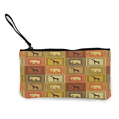 Canvas Print Wallet Safari,African Animals Pattern Silhouette Exotic Fauna Frame Vintage Illustration, Brown and Black W8.5