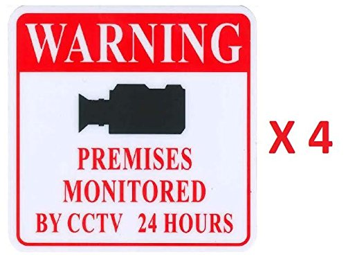 "Glossy CCTV Security Warning Sign Sticker, 4"" x 4"", Bright Color, Flexible Plastic, Waterproof, PACK OF 4, Amazing Deal to Keep Crime Away"