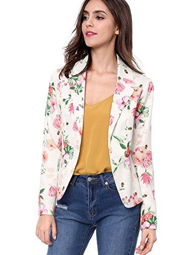 Floral Blazer (Allegra K Women's Floral Print Notched Lapel Open Front Blazer M White)