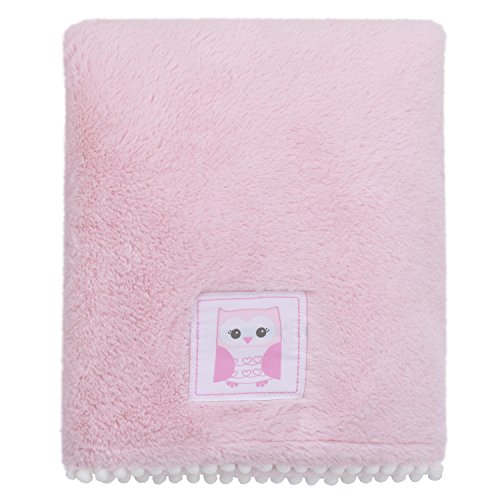 Little Love by NoJo Super Soft Double Sided Cuddle Plush Blanket with Pom Pom Trim, Owl, Pink, White