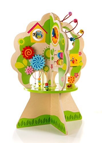 Ray's Toys Deluxe Wooden Activity Tree Center for Toddlers & Kids 1-5 Years -Educational Playstation for Learning Shapes, Colors, Time Telling & Counting -Made of Non-Toxic Wood W/ Water-Based Colors
