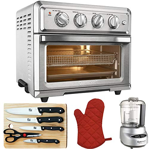 Cuisinart Convection Toaster Oven Air Fryer with Light Silver (TOA-60) with Mini Food Processor, 5-Piece Knife Set, Cutting Board and Oven Mitts