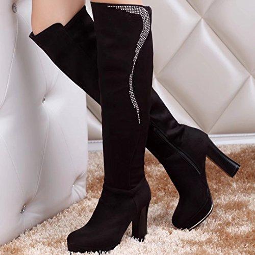 AIYOUMEI Damen Stretch Kniehohe Stiefel mit Strass und Plateau 10cm Absatz Langschaftstiefel uVrzHFYF