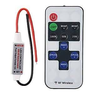SODIAL(R) Controlador Regulador Mini Mando a Distancia para Luz Tira de LED 12A