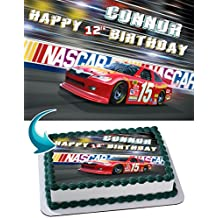 Nascar Racing Cars Cake Topper Personalized Birthday 1/4 Sheet Decoration Custom Sheet Party Birthday Sugar Frosting Transfer Fondant Image ~ Best Quality Edible Image for cake