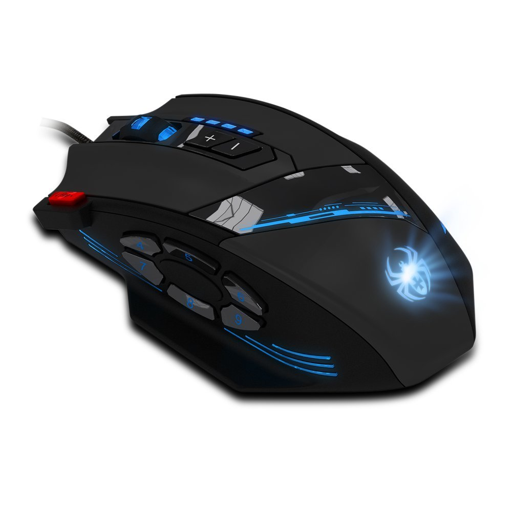 12 Programmable Buttons Zelotes C12 Gaming Mouse, AFUNTA Laser Double-Speed Adjustment 8000DPI Mice Support 4 Level Switch by AFUNTA