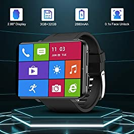 TICWRIS Andriod Smart Watch, GPS Android Smartwatch, 4G LTE with 2.86″ Touch Screen, Face Unclok Phone Watch with 2880mAh Battery, IP67 Waterproof Sport Watch,3GB+32GB Andriod Watch for Men (Black)