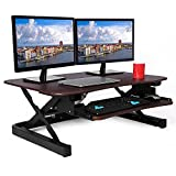 ApexDesk ZT Series Height Adjustable Sit to Stand Electric Desk Converter, 2-Tier Design with Large 36x24'' Upper Work Surface and Lower Keyboard Tray Deck (Electric Riser, Walnut) (EDR-3612-WALNUT)