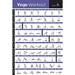 "NewMe Fitness YOGA POSE EXERCISE POSTER LAMINATED – Premium Instructional Beginner's Chart for Sequences & Flow - 70 Essential Poses - Sanskrit & English Names - Easy, View It & Do It! - 20""x30"""