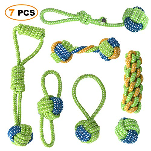MoonCastle 7 Pack Puppy Chew Rope Tug Toys Sturdy Bite-Resistant Small to Medium Dogs Pets Teeth Cleaning Toys (7)