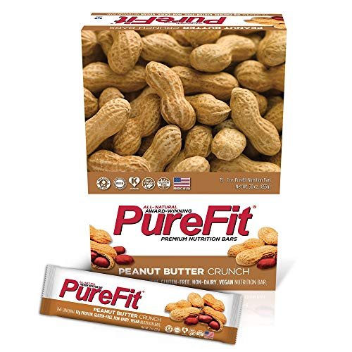 PureFit Peanut Butter Crunch Premium Nutrition Bars, 15 Count | The Original 18G Protein, Gluten Free, Non-Dairy, Low Carb, Vegan Snack Bar for Healthy Living, Performance Enhancement and Energy