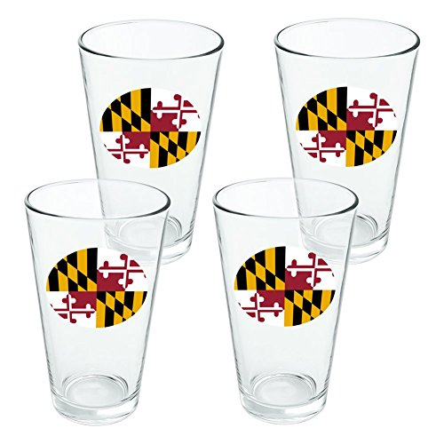 Maryland State Flag Novelty 16oz Pint Drinking Glass Tempered - Set of 4