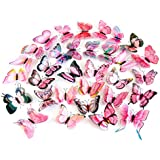 Fridge Decal ,AMA(TM) 12pcs 3D Butterfly Wall Sticker Magnet Room Decor Applique (Pink)