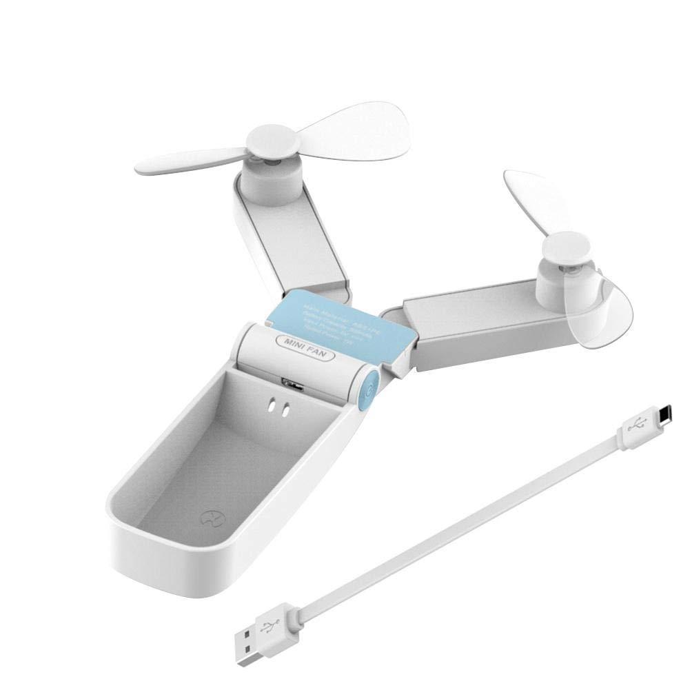 Sponsi Doppelk/öpfiger pers/önlicher Handventilator Mini-Faltbarer wiederaufladbarer USB-Anschluss f/ür Home Office-Reisen im Freien tragbarer Taschenventilator mit 2 Geschwindigkeiten Starker Wind
