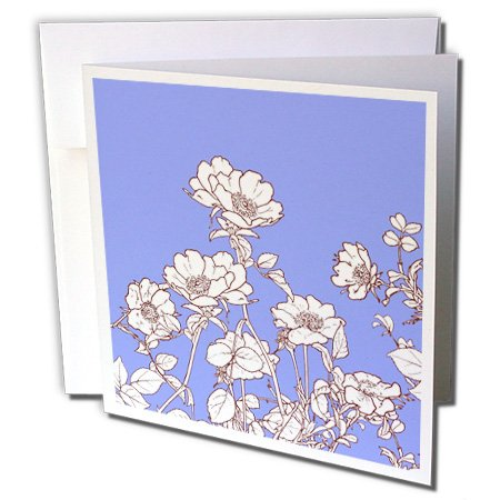 3dRose Russ Billington Designs - Pretty Wild Rose Drawing in Sepia and White over Lavender Background - 1 Greeting Card with envelope (gc_219385_5) ()
