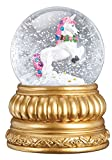 Old World Christmas Prancing Unicorn Snow Globe Blower Antique Gold Fish Standard