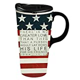 Cypress Home No Greater Love Ceramic Travel Coffee Mug, 17 ounces